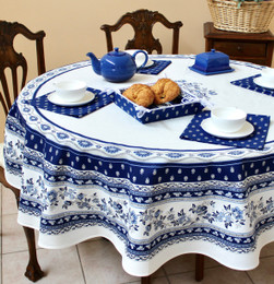 Marat Avignon Blue French Tablecloth Round 180cm COATED Made in France