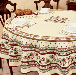 Marat Avignon-Avignon Ecru French Tablecloth Round 180cm COATED Made in France