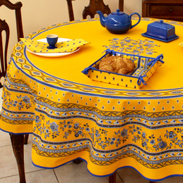 Marat Avignon-Avignon Yellow French Tablecloth Round 180cm COATED Made in France