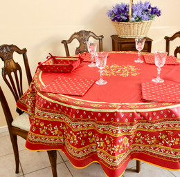 Marat Avignon Red French Tablecloth Round 180cm COATED Made in France