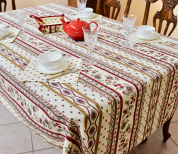 Marat Avignon Ecru French Tablecloth 155x200cm 6Seats COATED Made in France