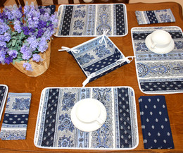 Marat Bastide Navy Quilted Placemat COATED Made in France