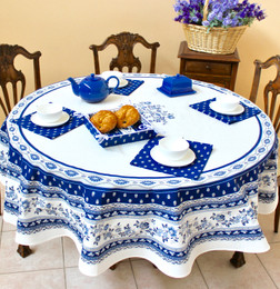 Marat Avignon White French Tablecloth Round 180cm Made in France