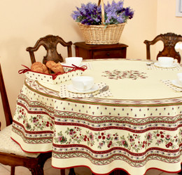 Marat Avignon Ecru French Tablecloth Round 180cm Made in France