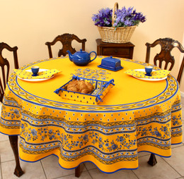 Marat Avignon Yellow French Tablecloth Round180cm Made in France