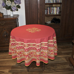 Marat Avignon Avignon Red French Tablecloth Round 180cm Made in France