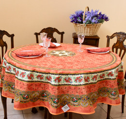 Marat Avignon Tradition Rust French Tablecloth Round 180cm COATED Made in France