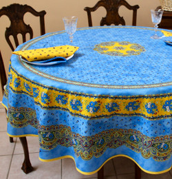 Marat Avignon Tradition Blue French Tablecloth Round 180cm COATED Made in France
