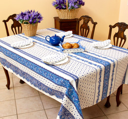 Marat Avignon Tradition White French Tablecloth 155x200cm 6Seats COATED Made in France