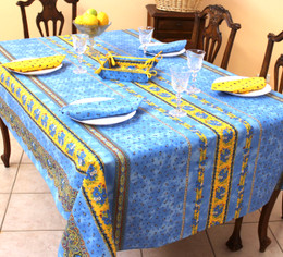 Marat Avignon Tradition Blue French Tablecloth 155x250cm 8Seats Made in France