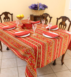 Marat Avignon Red French Tablecloth 155x250cm 8Seats Made in France