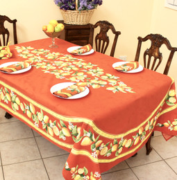 Lemon Orange French Tablecloth 155x250cm 8seats COATED Made in France