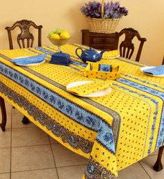 Marat Avignon Tradition Yellow French Tablecloth 155x250cm 8seats COATED Made in France