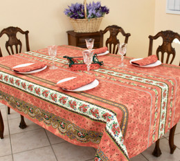 Marat Avignon Tradition Rust French Tablecloth 155x300cm 10 Seats COATED Made in France
