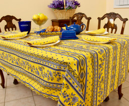 Marat Avignon Yellow French Tablecloth 155x300cm 10Seats Made in France