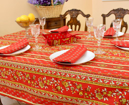 Marat Avignon Red French Tablecloth 155x300cm 10Seats Made in France