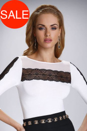 Felicita Ecru Black Top Made in Poland