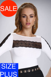 Felicita Ecru Black Top SIZE PLUS