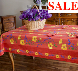 Poppy Rust 155x120cm  4-6Seats Small Tablecloth Made in France