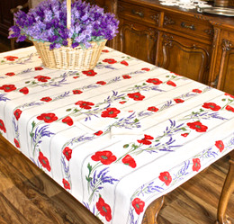 Poppy Ecru155x120cm  4-6Seats Small Tablecloth Made in France