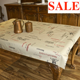 Carte des Vins Taupe 155x120cm  4-6Seats Small Tablecloth Made in Franc