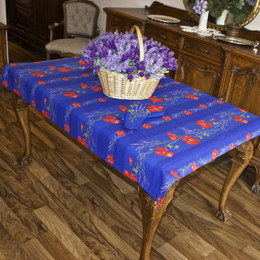 Poppy Blue 155x120cm  4-6Seats Small Tablecloth Made in France