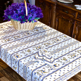 Moustiers Blue 155x120cm  4-6Seats Small Tablecloth COATED Made in France
