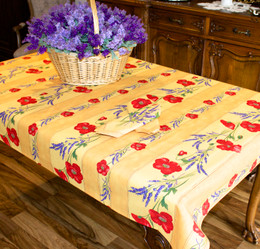 Poppy Yellow 155x120cm 4-6Seats Small Tablecloth COATED Made in France