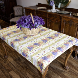 Lavender&Roses 155x120cm 4-6Seats Small Tablecloth COATED Made in France