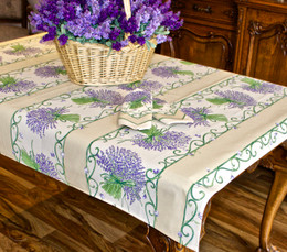 Lavender Ecru 155x120cm  4-6Seats Small Tablecloth COATED Made in France
