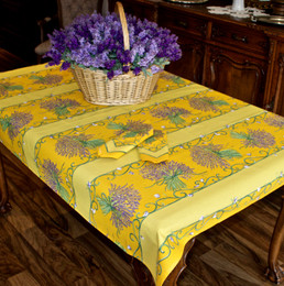Lavender Yellow 155x120cm 4-6Seat Small Tablecloth COATED Made in France