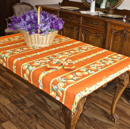 Lemon Orange 155x120cm 4-6Seats Small Tablecloth COATED Made in France
