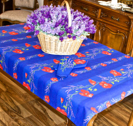 Poppy Blue 155x120cm 4-6seat Small Tablecloth COATED Made in France