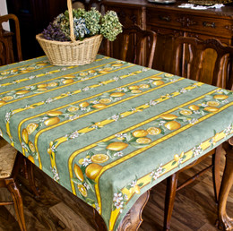 Lemon Green 155x120cm Small Tablecloth COATED Made in France