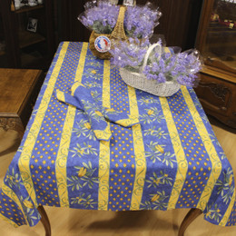 Cicada French Tablecloth 155x300cm 10seats COATED Made in France