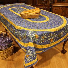 Cicada FrenchTablecloth 155x250cm 8seats COATED Made in France