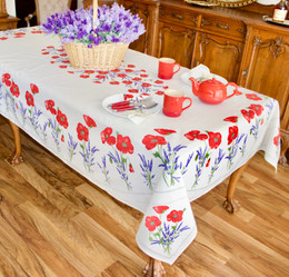 Poppy Ecru French Tablecloth 155x250cm 8 seats  Made in France