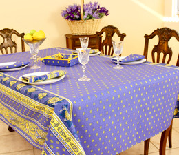 Marat Avignon Bastide Blue French Tablecloth 155x250cm 8seats Made in France