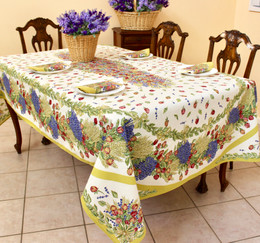 Lavender&Roses French Tablecloth 155x250cm 8seats Made in France