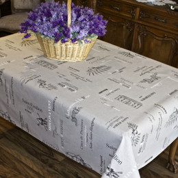 Carte des Vines Lin French Tablecloth 155x300cm 10Seats Made in France