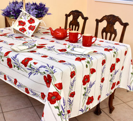 Poppy Ecru French Tablecloth 155x200cm 6Seats COATED Made in France