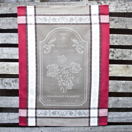 Vignoble Taupe Jacquard Tea Towel Made in France