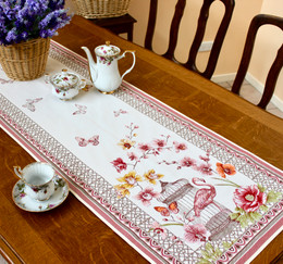 Jardin Ecru 49x165cm Thick Jacquard Tapestry Style Runner Made in France