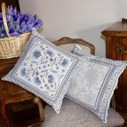 Sillans Blue-French Jacquard Cushion Cover Made in France