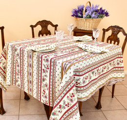 Marat Avignon EcruFrench Tablecloth 150x150cm Square COATED Made in France