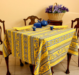 Marat Avignon Yellow Square French Tablecloth 150x150cm COATED Made in France