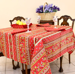 Marat Avignon Red French Tablecloth Square150x150cm COATED Made in France