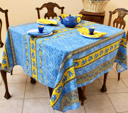 Marat Tradition Blue Square French Tablecloth 150x150cm COATED Made in France