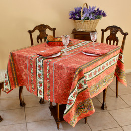 Marat Tradition Rust French Tablecloth Square 150x150cm COATED Made in France