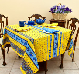 Marat Tradition Yellow French Tablecloth Square 150x150cm COATED Made in France
